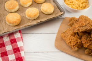 Biscuits, fried chicken and macaroni and cheese.