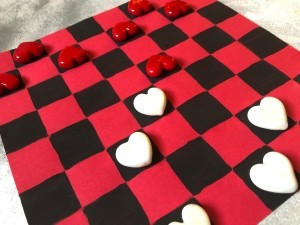 Valentine's Checkers Game - game in process
