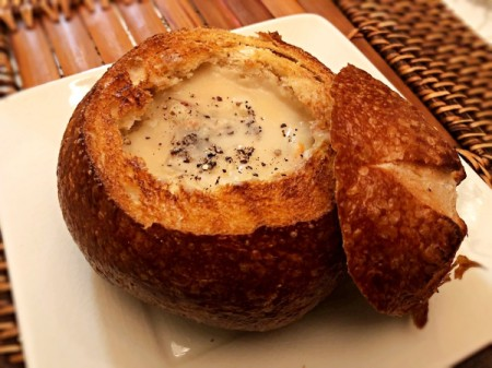 Homemade Clam Chowder in bread bowl