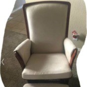 Rocker Glider Sits Too Far Back When Not in Use - white upholstered glider with wood trim