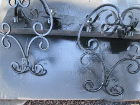 Decorative Outdoor Solar Sconces - spray painted, final color is black