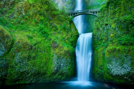Beautiful Multnomah Falls, located on the Oregon side of the Columbia River Gorge.