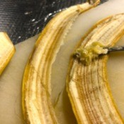 A banana peel removed from the fruit.