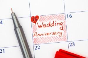 A wedding anniversary written on a calendar.