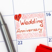 A wedding anniversary written on a calendar.