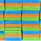A stack of colorful sponges.