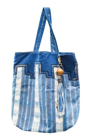 Blue tote bag.