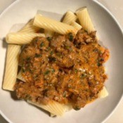 Creamy Meat Sauce on Pasta in bowl