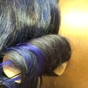 Create Bouncy Curls with Cardboard Tubes - secure hair with bobby pins onto roll