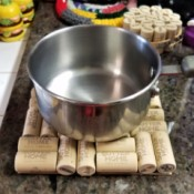 Simple Wine Cork Trivet - under a bowl