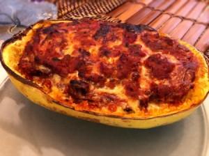 Spaghetti Squash Lasagna Boat on plate