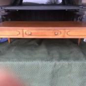 Value of a Mersman Step End Table and Coffee Table - coffee table in the back of a pickup truck