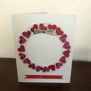 Valentine Wreath Card - banner added to bottom and bow to the top