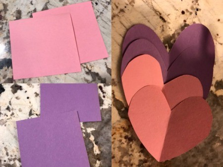 Imaginary Clothespin Flying Butterfly - cut two squares of different colored paper then fold in half and cut into heart shapes