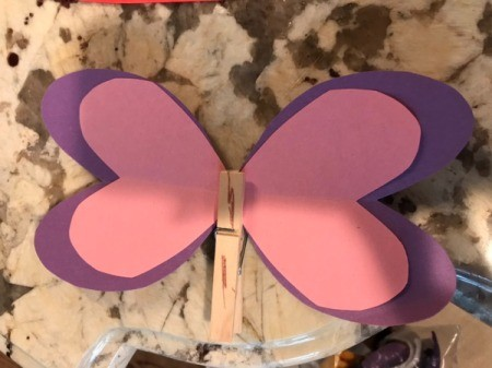 Imaginary Clothespin Flying Butterfly - clip the wings to the pin and hot glue