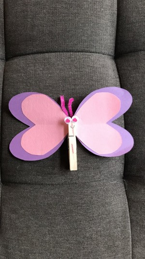 Imaginary Clothespin Flying Butterfly - pink and purple paper and clothespin butterfly