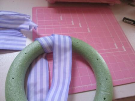 No Sew No Glue Ribbon Wreath - wrap the foam wreath form with ribbon
