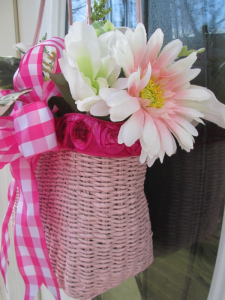 Straw Handbag Planter - faux flowers added with ribbon bow