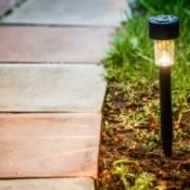 Solar Lights by Brick Garden Path