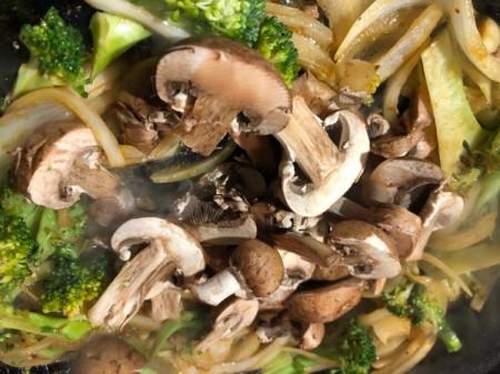 mushrooms added to pan