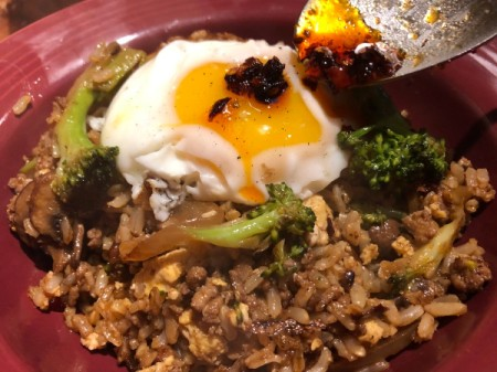 egg added to top of Fried Rice