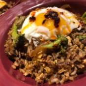 Korean Inspired Fried Rice on plate
