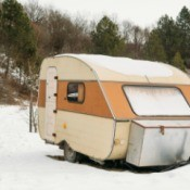 A camping trailer in the winter.