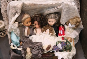 A collection of vintage dolls.