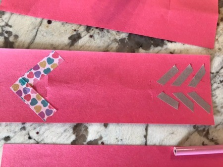 Valentine's Day Pencil Arrow Card - closeup of finished arrow before adding pencil