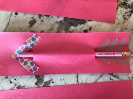 Valentine's Day Pencil Arrow Card - push pencil through the slits creating the arrow shaft