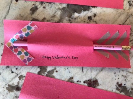 Valentine's Day Pencil Arrow Card - add greeting