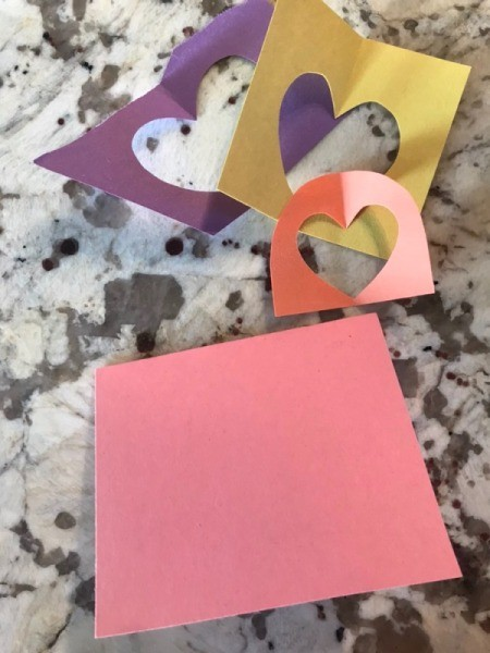Cutout Heart Valentines - for card #2 cut a square piece of colored paper