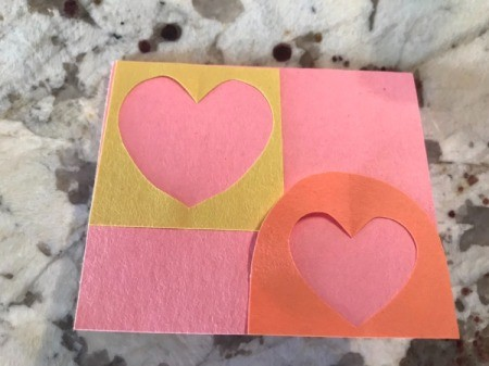 Cutout Heart Valentines - two scape papers from the hearts