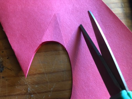 Heart Shaped Fox Card - cut two triangles from the red paper for the ears