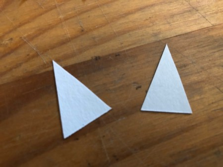 Heart Shaped Fox Card - cut two smaller white triangles