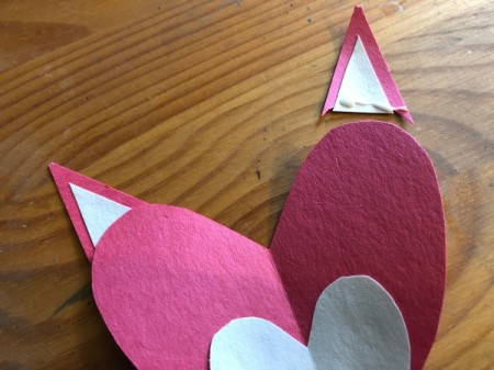 Heart Shaped Fox Card - glue the ears to the top of the heart lobes