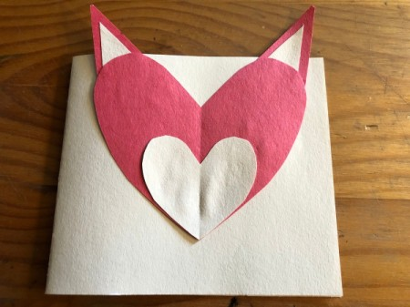 Heart Shaped Fox Card - glue fox head to the card base with the ears sticking up over the top of the card base