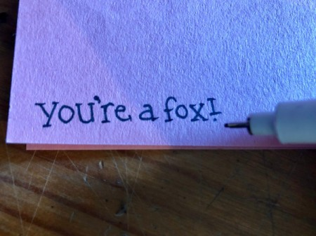Heart Shaped Fox Card - write text on pink paper