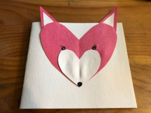 Heart Shaped Fox Card - add eyes and a nose