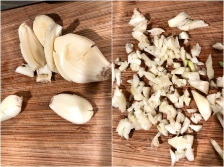 peeled garlic & chopped garlic