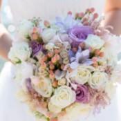A wedding bouquet of beautiful flowers.