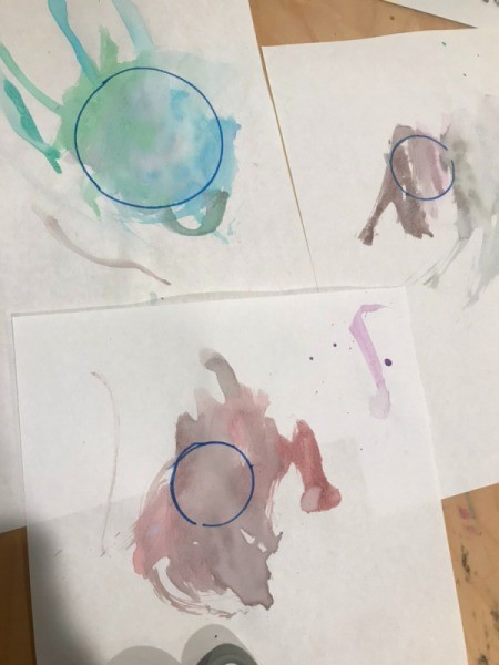 Planetary Artwork - three planets traced in the painted area