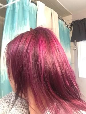 Toning Down Hair Dye - bright pinkish purple hair after dyeing