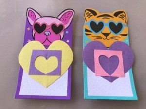 """""""Eyes On You"""" Valentines - glue down a square with a heart cut out"""