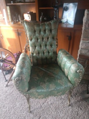 Identifying an Antique Upholstered Chair - button tufted mint green floral upholstered chair