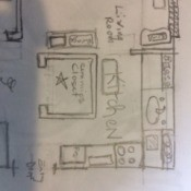 Living Room Paint Color Advice - sketch of the living room and kitchen area