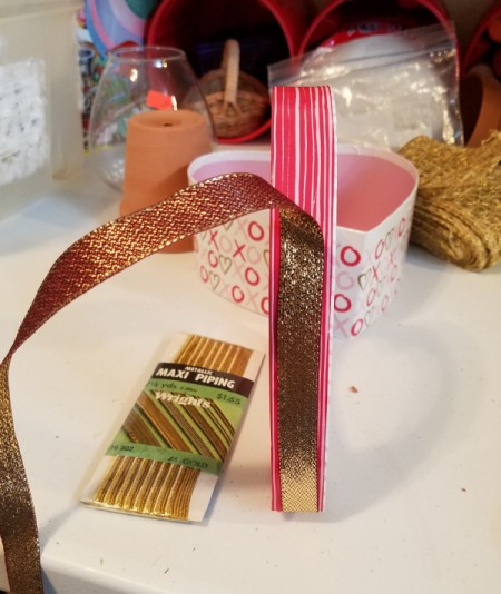 Decorated Heart Box Crafts - glue ribbon to the outside edge of the lid