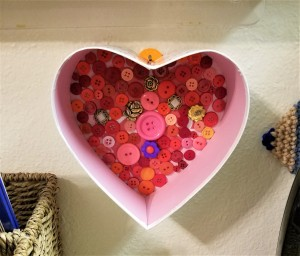 Decorated Heart Box Crafts - button heart box hanging on the wall