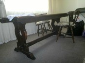 Identifying an Old Oak Trestle Table - view showing the legs