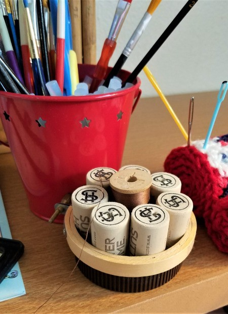 Recycled Cork Thread Dispenser and a Candle Holder - finished thread spool holder